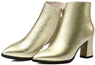 c4d72d746a2 MENGLTX Sandalias Tacones Altos Moda Mujer Estilo Europeo Botines Mujeres  Zapatos De Cuero Genuino Mujer Punta