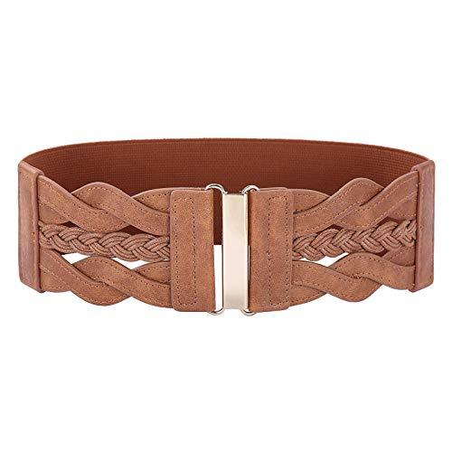 Women's Classic Metal Hook Buckle Wide Belt Size 3XL Brown