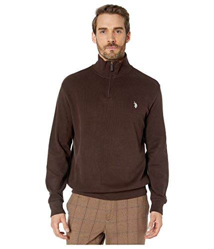 U.S. Polo Assn. Pull à col montant 1/4 zippé à dos plat pour homme - Noir - Medium