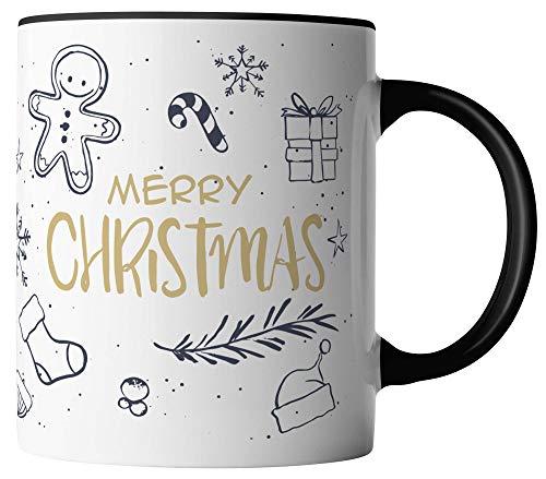 vanVerden Tasse - Merry Christmas Frohe Weihnachten Frohes Fest - umlaufend Bedruckt - Geschenk Idee Kaffeetassen, Tassenfarbe:Weiß/Schwarz