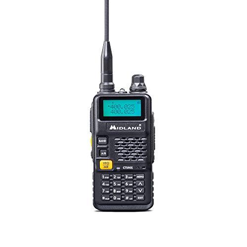 Midland CT590 S Radio Ricetrasmittente Amatoriale Dual Band 128 Canali Memorizzabili - 1 Ricetrasmettitore, Antenna, Clip Cintura, Pacco Batteria Li-Ion 1500mAh 7.4V, Caricatore da Tavolo e Adattatore