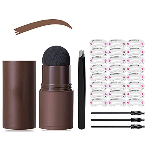 Kit de sellos de ceja y modelado, 29 pulgadas de un paso para cejas, plantilla para cejas, herramienta de maquillaje de color de cejas, color marrón claro