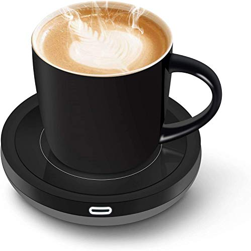 Tassenwärmer Getränkewärmer mit Elektrischer Heizplatte Automatischer Schwerkraft-Sensor-Schalter für Tee Kaffee Milch Kaffeewärmer mit Eurostecker für Büro, Zuhause (Bis zu 131F/55C)(Schwarz set)