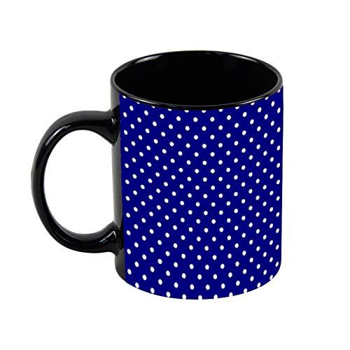 Bandana con diseño de lunares azul marino (1) taza de café negra, taza de café de 325 ml, taza de café y té de cerámica única, regalo de Navidad para ella, regalo de amigo
