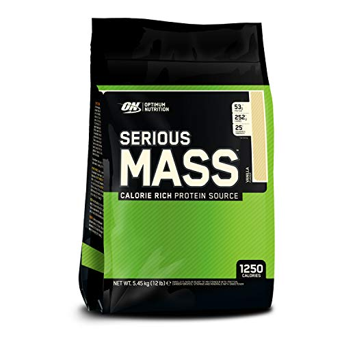 Optimum Nutrition Serious Mass Protein Powder High Calorie Mass Gainer with Vitamins, Creatine and Glutamine, Vanilla, 16 Servings, 5.45 kg