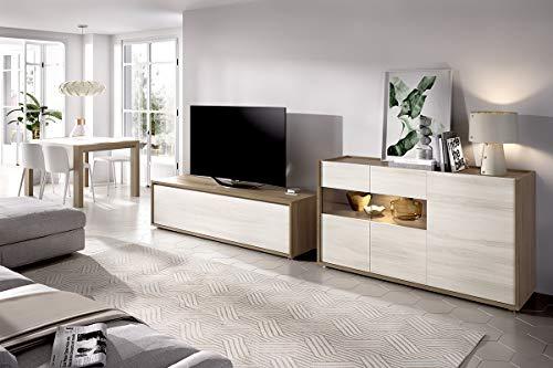 ambiato Duo 15 Lowboard, dressoir met glazen deuren, benodigde ruimte: minimaal 300 x 45 cm.