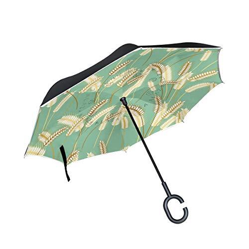 PINLLG Regenschirm für Pflanzen, Gerstengras, umgekehrt, doppelschichtig, mit C-förmigem Griff, UV-Schutz, Winddicht, für Auto im Freien