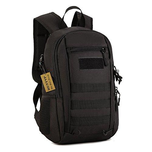 Huntvp 12L Mini Rucksack Taktisch Molle Schultasche Wasserdicht Daypack Militärisch Schulrucksack Studenttasche Sporttasche für Outdoor Sport - Schwarz