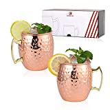 Kitcherish Moscow Mule Copper Mugs Set of 2 Hammered Mugs Stainless Steel Lining 18 oz Pure Copper Plating Cups for Drinking