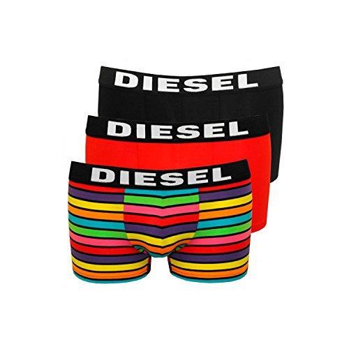 Diesel Boxer 3pack, Herren Pants, tolle Styles, S M L XL XXL S, Mix (Schwarz, Rot, Bunt gestreift)