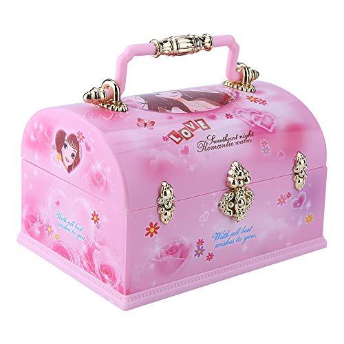 Hilitand Caja de Almacenamiento de joyería Musical para niña: diseño de Almacenamiento múltiple, patrón Lindo con Bailarina giratoria