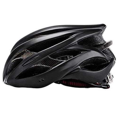 YINUO-Helm Fahrrad Fahrradhelm Mountain Road Auto Ausrüstung Fahrrad Männlich Sicherheit Hut Reiten Frauen Blitz Eine Bildung (Color : Black)