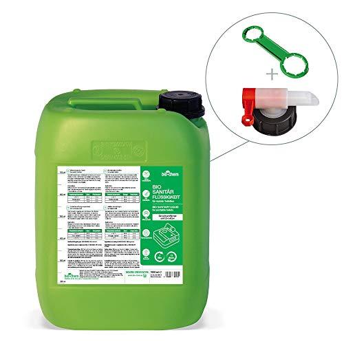 Bio-Chem Sanitärzusatz/Bio Sanitärflüssigkeit für Campingtoilette Konzentrat 5 L Kanister + Zubehör für Camping-Toilette, Chemietoilette sowie Mobile Toilette
