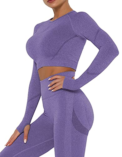 Qric Camiseta deportiva de manga larga para mujer, camiseta de compresión, ropa deportiva para yoga, gimnasio, leggings modernos, top, Mujer, Manga larga morada., medium