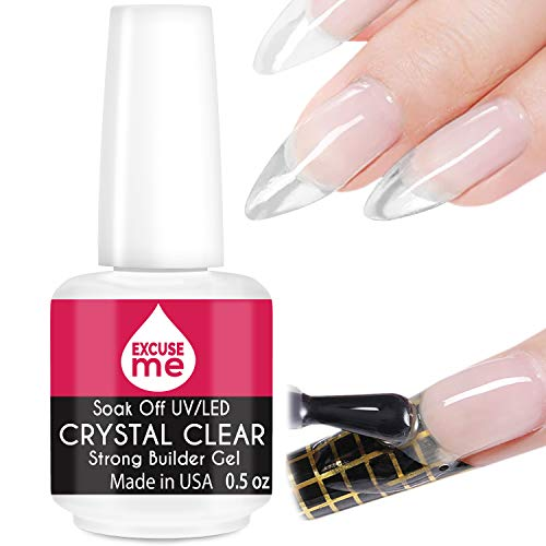 Excuse Me Soak Off LED /UV Strong Builder Gel Crystal Clear for Sculpting Nail Extension, Strengthening Natural Nails and Repair Cracked Nails 0.5 oz (1 Piece)