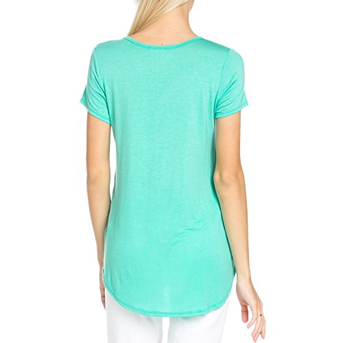 I can't Run I'm a Mermaid Scoop Neck Short Sleeves Top With Low and High Sweep(NT6123-481) (Large, Mint)