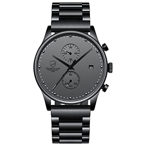 Reloj de pulsera de acero inoxidable con cronógrafo de malla de acero inoxidable con fecha analógica, Grey M,