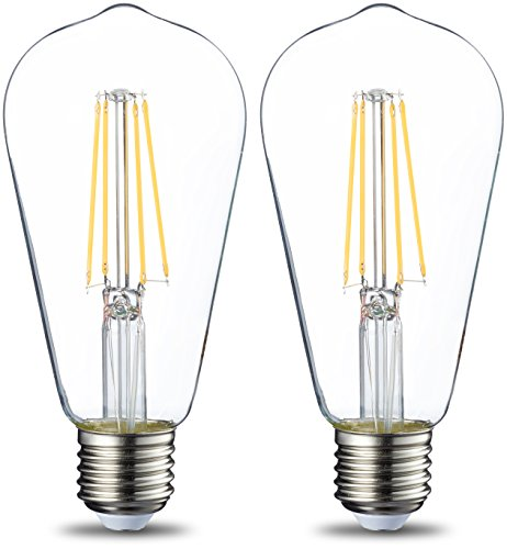 AmazonBasics E27 LED Lampe ST64, 7W (ersetzt 60W), klar - 2er-Pack