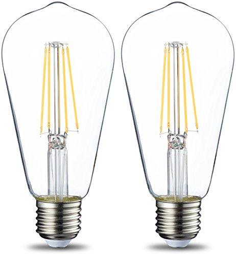 AmazonBasics Bombilla LED Esférica E27 Vintage Edison, ST64, 7W (equivalente a 60W),...