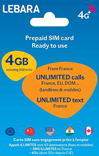 SIM prépayée+ appels et SMS illimités France+ appels illimités 43 Destination + 4Go