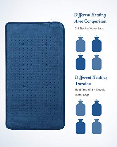 Heating Pad for Back Cramps Neck Shoulder with 4 Heating Levels and 4 Timer Settings, Soft Coral Fleece Material, Electric Portable Heat Pad with Fast Heating and Machine Washable