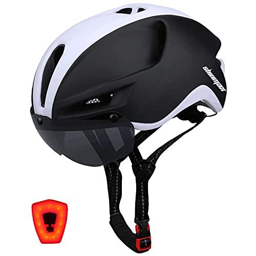 Shinmax Casco Bicicleta,Casco Bicicleta Adulto para con Magnética Visera,Casco MTB con Luz LED Recargable & Cuerda de Seguridad Reflectante,Cascos Bicicleta Montaña,Casco de Bicicleta 57-62CM (RC-088)