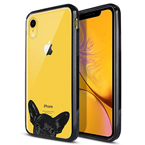 FINCIBO Case Compatible with Apple iPhone XR 6.1 inch, Slim Shock Absorbing TPU Bumper + Clear Hard Protective Case Cover for iPhone XR - French Bulldog Puppy Dog Black