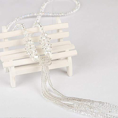 RKWEI Chaîne De Chandail Cristal De Mode Long Collier Gland Collier Brillant String Perles Collier Femmes Pull Collier Bijoux C