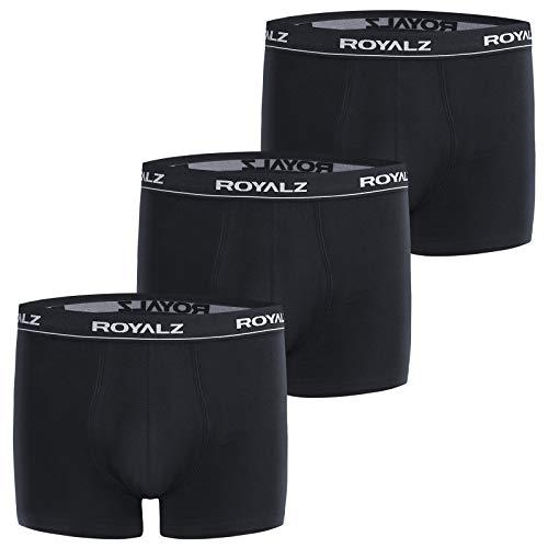 ROYALZ Boxershorts (3 Stück) Herren Unterwäsche Set Unterhosen 95% Baumwolle 5% Elasthan, Farbe:Schwarz, Größe:S