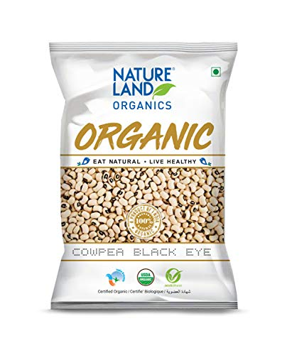 Natureland Organics Cowpea Black Eye / Lobia 500 Gm - Organic Healthy Pulses