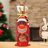 HANBIN クリスマス クリスマスワインボトルカバーバッグ 鹿パターン 雪だるま ボトルラップ フェスティバルの装飾 1ピース パーティー Deer