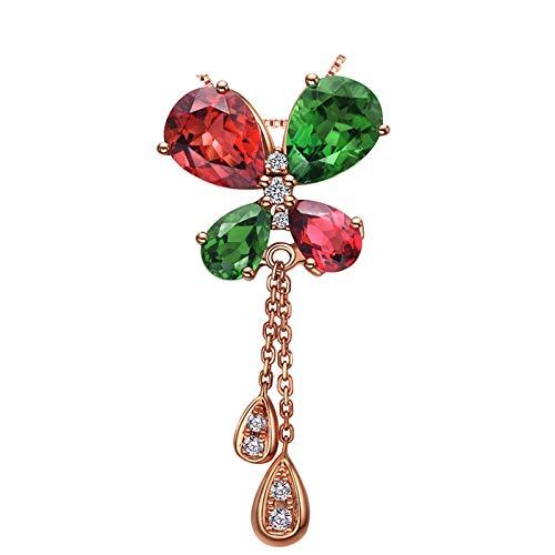 Daesar Colgantes Oro Rosa Mujer 18 Kilates Mariposa con Turmalina