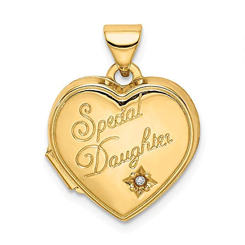 14k Yellow Gold 15mm Heart Diamond Special Daughter Photo Pendant Charm Locket Chain Necklace That Holds Pictures Fine Jewelry For Women Gifts For Her