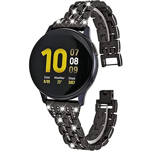 HGNZMD Joyas De Repuesto Compatibles con Galaxy Watch 3, Pulseras De Acero Inoxidable para Mujeres Y Niñas Bandas De Metal Correa De Reloj con Purpurina Compatible con Galaxy Watch 3,Negro,45mm