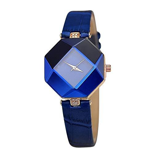 Elegante Reloj de Moda para Mujer, Esfera Irregular, Reloj con Corte de Diamantes de imitación, Correa de Cuero, Reloj de Pulsera de Cuarzo, Reloj de Vestir para Mujer (Azul)