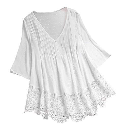 VEMOW Camisola Tops Mujer Vintage Jacquard Tres cuartos de encaje con cuello en V Talla grande Blusas superior(blanco,XL)
