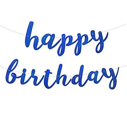 Navy Blue Royal Blue Glittery Happy Birthday Banner Bunting for Boy Birthday Party Baby Shower Anniversary Celebrations Decorations
