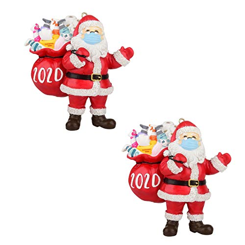 FW ZONE 2020 Christmas Ornaments, Quarantine Survivor Santa Claus Ornaments Toy,Santa Wearing_Mask in Quarantine Keepsake-2Pack