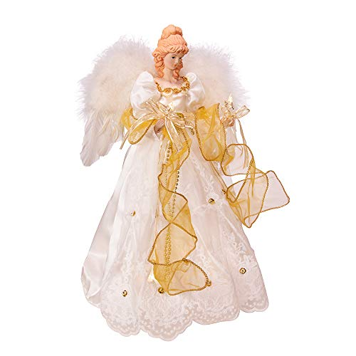 Kurt Adler Battery-Operated Ivory and Gold LED Angel Treetop, White
