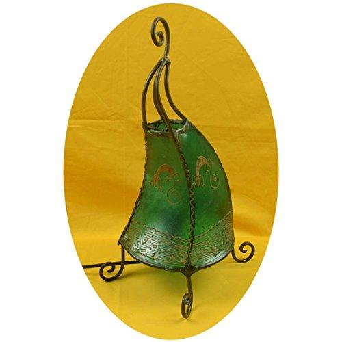 Orientalische Lampe Stehlampe marokkanische Hennalampe Lederlampe Tischleuchte Stehleuchte Orient Coq Gecko 40 cm Color Grün