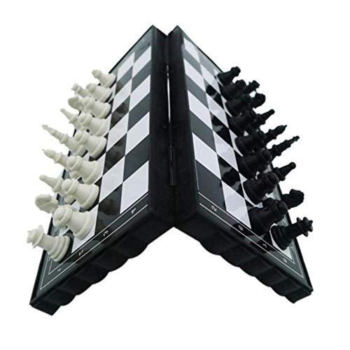 Aocean Mini Juego de ajedrez Plegable de plástico Tablero de ajedrez Ligero Juego de Mesa hogar al Aire Libre portátil Chico Juguete Juego de Piezas de ajedrez
