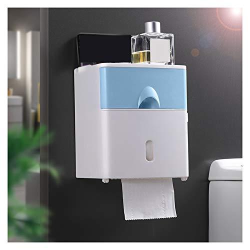 WXXSL Moderno Portarotolo Bagno, ABS Impermeabile Montaggio Parete Portarotolo Carta Igienica Nessuna Perforazione Deposito Tessuto Bagno 17,6×13,6×20,6cm,Blu
