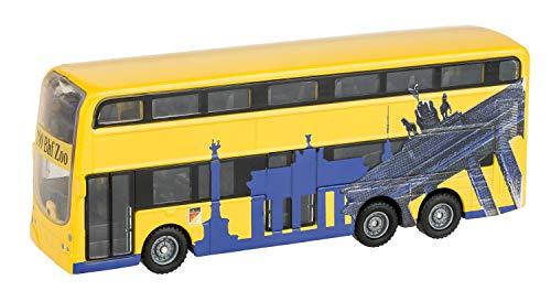 Idena 40107 - Modellbus Berliner Doppeldecker, mit Rückzugmotor, ca. 18,5 x 13,5 x 4,5 cm, gelb, als Spielzeug, typisches Souvenir oder beliebtes Sammlerstück