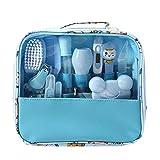 Kit de cuidado de la salud y el cuidado del bebé de lujo, 14 piezas, kit completo de cuidado de la guardería, Azul