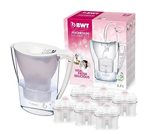 BWT Penguin Electronics - Caraffa filtrante per acqua in magnesio + confezione da 6 filtri, 2.7L, Bianco