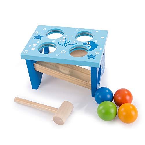 Lihgfw Puzzle Wooden baby Children's Kloppen The Ball tafel om Hamster Toy Blue Ocean Patroon Ouder-kind speelplezier