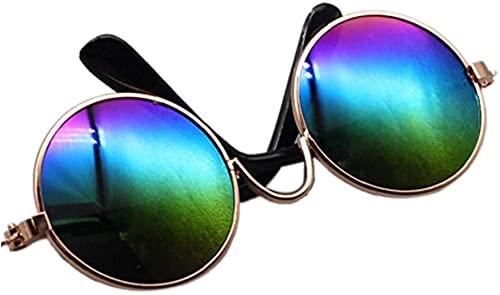 Ghlevo Mini Gafas de Sol de Gafas de Metal Vidrios Miniatura Puppets Sunglass Forma Redonda Lente Muñecas pequeñas Accesorios de Juguete (Color : Style 2)