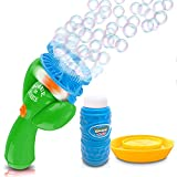 ArtCreativity Double Bubble Blower Fan - Battery-Operated Bubbles Blaster - 4oz Solution and Dipping Tray Included - Fun Bubble Blowing Shooter for Boys and Girls, Great Outdoor Summer Game - Green