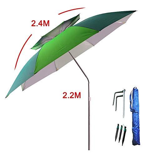 XHCP Sonnenschirm, Sonnenschirm, Regenschirm Angelschirm |2,4 M |Großer Sonnenschirm, 360 & deg;Rotierende Universalfeder, wasserdicht/Sonnenschutz, Regenschirm aus Aluminiumlegierung, frei