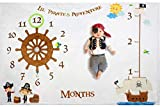 Lil Pirate Adventure Baby Monthly Milestone Blanket Backdrop Set for Boys & Girls | Large 60'x40' Fleece Infant First Year Photography Prop, New Mom Shower Gift, Age & Growth Memory, Ship Wheel Skull